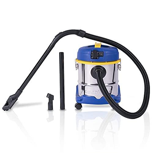 Goodyear Aspirador sin Bolsa Potente, seco y húmedo de 20 L. Sistema de filtrado HEPA y función soplado. Cepillo para Suelo Incluido. Manguera Flexible 1.5 m.