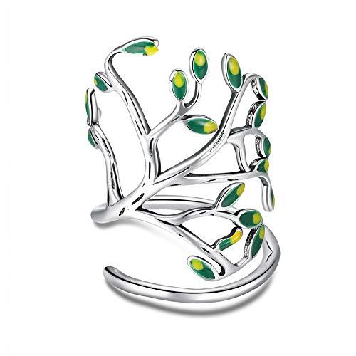 Bijoux Blu Tree of Life - Anillo ajustable para mujer, plata de ley 925, diseño de árbol de la vida, color verde