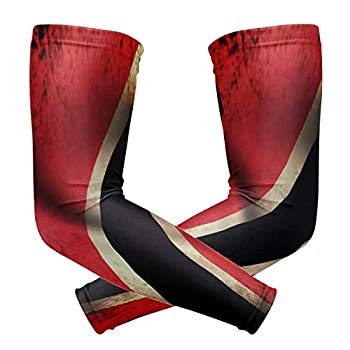 Trinidad & Tobago Flag Waving Grunge Unisex Sports Sunscreen Arms Tattoo Sleeves UV Protection Cooling Compression for Golf Cycling Running Fishing Basketball Outdoors