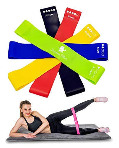 Sunshine Fitness Resistance Loop Bands - Non Slip Elastic Exercise Workout Band Set for Women and Men - Build Muscles and Strength in Your Chest Arms Abs Leg Butt - Great for Yoga Pilates Crossfit