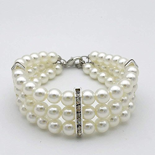 PETFAVORITES Fancy 3 Row Pearls Diamond Dog Necklace Collar Jewelry with Bling Rhinestones for Pets Cats Small Dogs Girl Teacup Chihuahua Yorkie Clothes Costume Outfits (White, Neck Size: 12'-13.7')