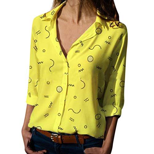 FRAUIT Damen Knopf Bluse Damen Langarm Revers Bluse Karo-Hemd, Casual Boyfriend...