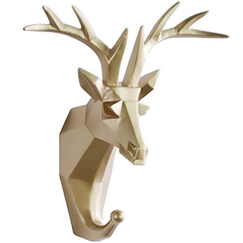 TZAMLI Wandhaken Hirsch Tier Harz Kleiderhaken Ohne Bohren, Handtuchhaken Wand Deko Tür Haken Aufbewahrung Ordnen Handtuch Kleidung, Golden