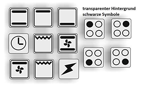 Generisch EIN Set mit 13 Stück Herd Aufkleber E Herd Beschriftung Ofen Koch Schalter Zeichen Symbole (R29/1/3) (10x10mm)