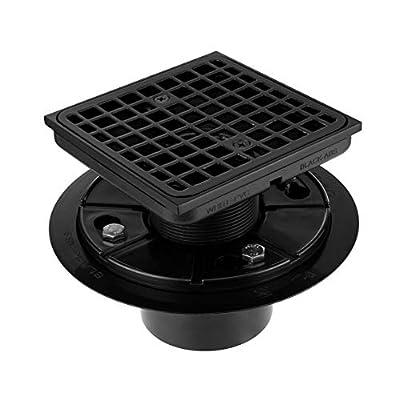 "Square Design Tile-In Floor Shower Drain, ABS Adjustable Shower Drain Base,Lower Drain Body Fit 2"" or 3"",For Kitchen,Bathroom (BLACK B)"
