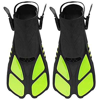 Diveitone Snorkel Fins, Short Swim Fins Swimming Flippers with Adjustable Strap for Women Men Swimming Diving and Snorkeling, Pefect for Travel