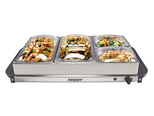 Beper P101TEM001 Calientaplatos de buffet, Acero inoxidable, 4 bandejas extraíbles, Termostato de temperatura, Luz de funcionamiento, Ideal para buffets, áreas de desayuno de hotel, brunch