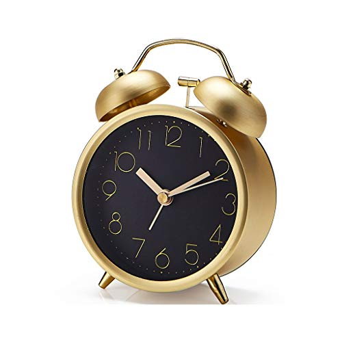 Summerone Metall Wecker Glocke Kreative Mode Digital Student Nacht Wecker Einfache Retro (Color : Gold)