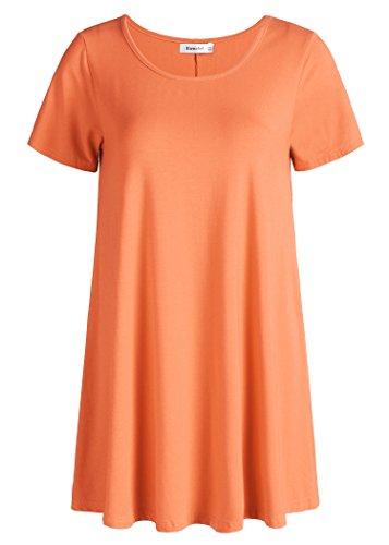 Esenchel Women's Tunic Top Casual T Shirt for Leggings L Orange