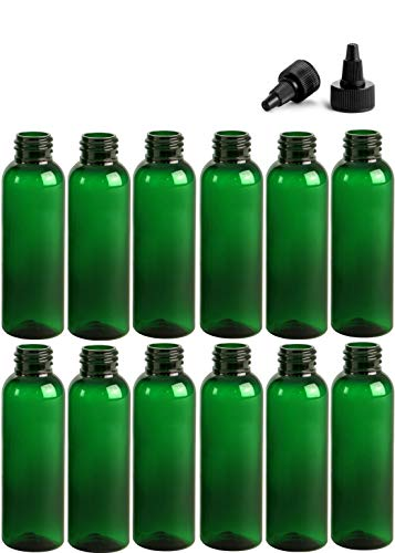 2 Ounce Cosmo Round Bottles, PET Plastic Empty Refillable BPA-Free, with Black Twist Top Caps (Pack of 12) (Green)