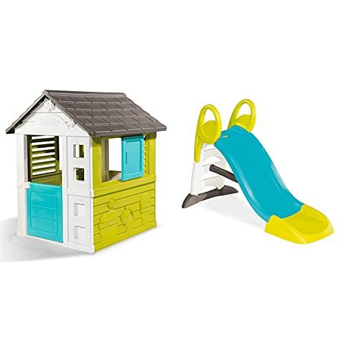 Smoby – Pretty Haus - Spielhaus für Kinder für drinnen und draußen, erweiterbar durch Zubehör & KS Rutsche – kompakte Kinderrutsche mit Wasseranschluss, 1,5 Meter lang, mit Rutschauslauf,...