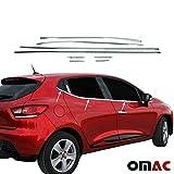 pour Clio 4 2012- Contours de vitre latèrale - Baguettes chromées en inox - 8 pièces
