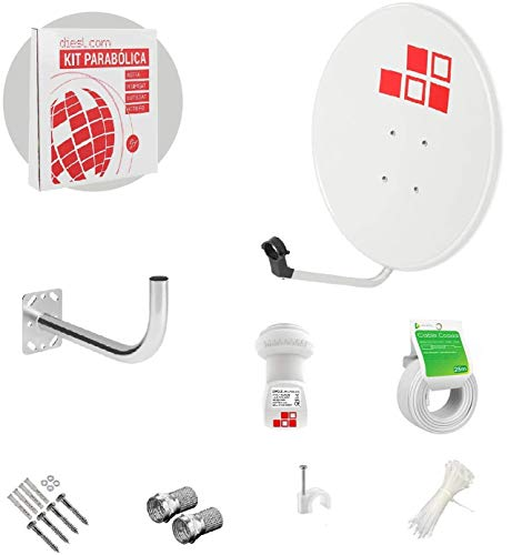 Diesl.com - Kit Antena parabolica de Television satelite Digital - 80cm + LNB Single 4k + Soporte + 20 Metros de Cable + Tacos a Pared + Conectores + 10x Bridas + 25 Grapas