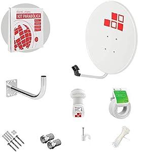 Diesl.com - Kit Antenas parabólicas de televisión satélite Digital - 80cm + LNB + Soporte + 20 Metros de Cable + Tacos a Pared + Conectores + 10x Bridas + 25 Grapas