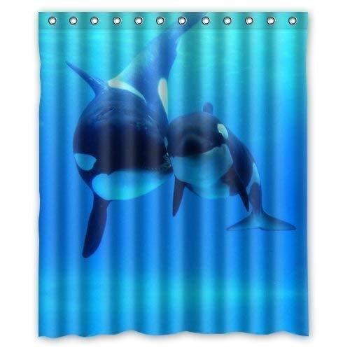 JOOCAR Design Duschvorhang Orca Killer Wale Ozean Meer Welt Gardinen Wasserdicht Stoff Stoff Badezimmer Dekor Set mit Haken