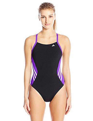 adidas Women's Solid Infinitex Splice Performance One Piece Swimsuit, Purple, 34