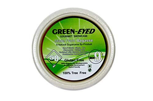 Green Eyed, Piatti di carta usa e getta, 22,9 cm, extra resistenti, biodegradabili, ecologici e compostabili, perfetti per picnic, barbecue e feste, piatti in bagassa, pacco da 50