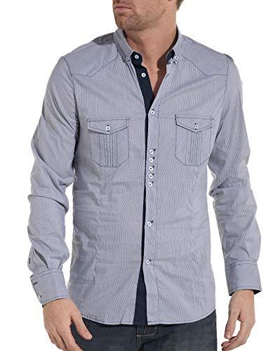 Chemise Homme Tendance et Fashion Bleue à Fines Rayures - S - Bleu