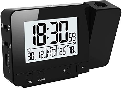 KKmoda Reloj de proyección Reloj Despertador Digital con 3 Brillos, Reloj de cabecera con Alarma Doble, 12 / 24H, Snooze, Temporizador de Apagado con Cargador USB (Negro)