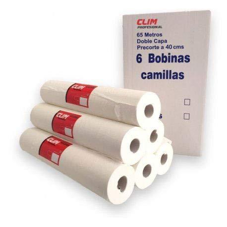 Caja de 6 rollos papel camilla Clim Profesional® extrablanco con doble capa y 65 mts de longitud, papel liso de calidad en rollos con precorte para un uso más fácil en camillas.