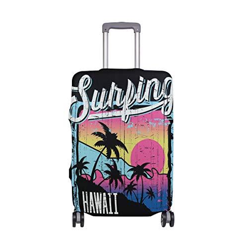 Funda protectora para equipaje de viaje Hawaii, verano, cocoteros, maleta, funda de elastano, para adultos, mujeres, hombres, adolescentes, se adapta a 18-20 pulgadas