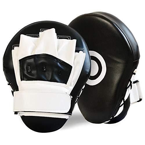 QuRRong Almohadilla de Boxeo Focus Curved Mitts Mitts PU Mano Mano Muay Thai Kick Pad Karate Sparring Guantes de Entrenamiento para Artes Marciales de MMA (Color : Black, Size : 20x25x7cm)