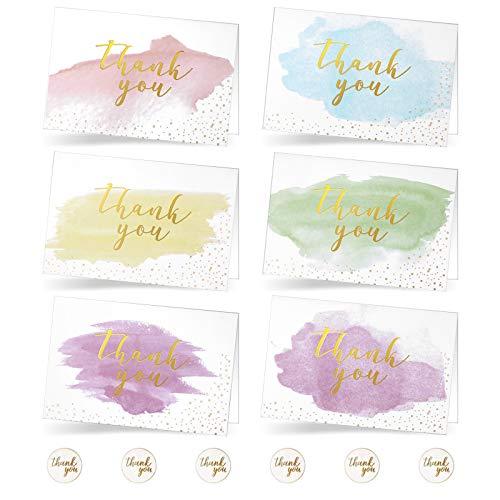 Lot de 42 cartes de remerciement aquarelles dorées avec autocollants et enveloppes pour mariage, Thanksgiving, entreprise, fête prénatale