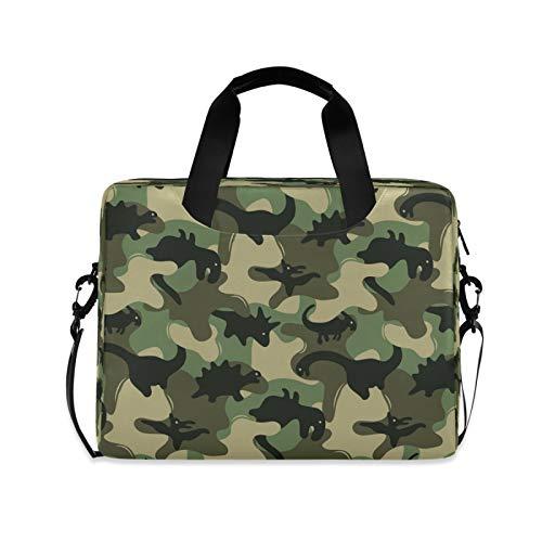 BGIFT Men Women Laptop Bag Military Camouflage Dinosaur Laptop Case Sleeve 15.6 13 14 16 Inch Briefcase Messenger with Shoulder Strap Handle Notebook Computer Tablet Bags for Kids