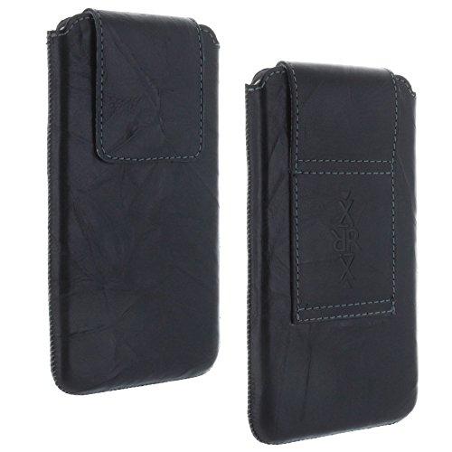 XiRRiX Leder Gürtel universal Handytasche 3XL kompatibel mit Apple iPhone 12/12 Pro/Motorola Moto G7 Play/Samsung Galaxy A20e A40 A5 2017 J3 J5 S7 S10e Xcover 4s - Handy Tasche schwarz