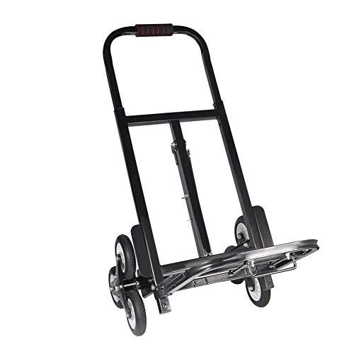 Treppensteiger Trolley, Faltbare Einkaufswagen Handwagen Treppenkarre Sackkarre Treppensackkarre für einfaches Klettern Treppensackkarre bis 200kg Faltbar 6 Räder Stapelkarre Schwarz