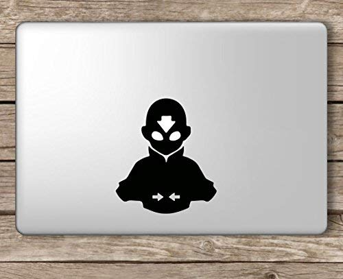 Avatar Aang Upper Body Last Airbender - Apple MacBook Laptop Vinyl Sticker Decal, Die Cut Vinyl Decal for Windows, Cars, Trucks, Tool Boxes, laptops, MacBook - virtually Any Hard, Smooth Surface