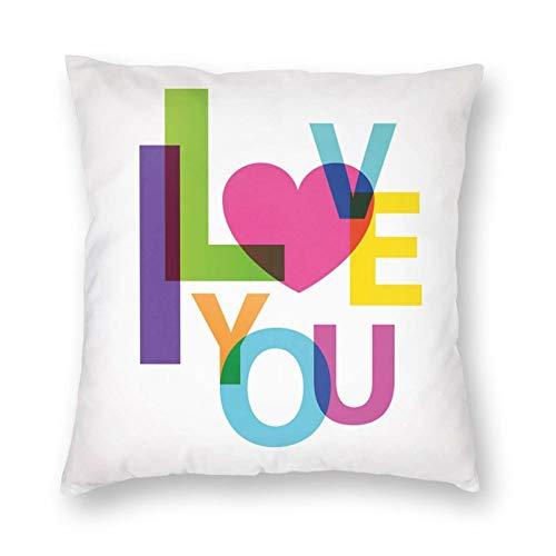 Funda de cojín con diseño de texto en inglés 'I Love You' (40,64 x 40,64 cm)