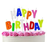 Bundaloo Happy Birthday Candles Cake Topper Colorful Alphabet Letters - Pink, White, Blue, Yellow, Green, Orange