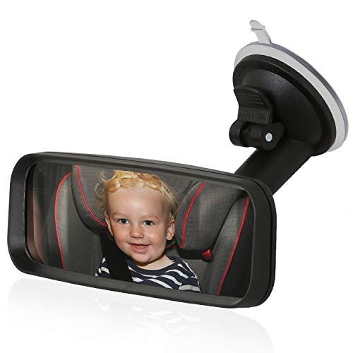 Wicked Chili Espejo retrovisor Adicional con Ventosa para pasajeros para Montar en el Parabrisas con Cuello de Cisne (sin Vibraciones, Superficie del Espejo: 153 x 45 mm) Negro