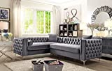 Iconic Home Mozart Elegant Velvet Modern Deeply Tufted with Silver Nailhead Trim Chrome Legs Left-Facing Sectional Sofa, Grey