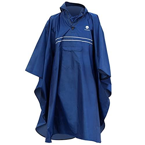 saewelo Regenponcho mit 3 Taschen und Reflektoren für Erwachsene (Unisex), 10.000 mm Wassersäule, Atmungsaktiv (Marine)