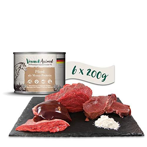 Venandi Animal Premium Nassfutter für Katzen, Pferd als Monoprotein, 6 x 200 g, getreidefrei und naturbelassen, 1.2 kg