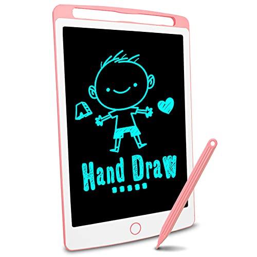 Richgv Tableta de Escritura LCD, Pizarra Infantil 10 Pulgadas, Pizarra magnética para niños, Juguetes electrónicos para Dibujar y Aprender (Rosa)