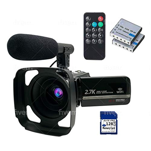 Digital Video Camera Kit – WIFI FHD Recording Camcorders Video Cameras with Microphone, Remote Control, Lens Hood – IR Night Vision – Ideal for Vlogging, Blogs, Live Streaming, Computer Webcam
