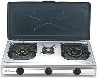 Orbegozo FO 3500 Réchaud à gaz en acier inoxydable, gaz butane ou propane, allumage piézoélectrique, deux brûleurs à tripl...
