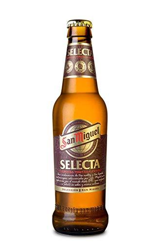 San Miguel Selecta Cerveza Premium Dorada Lager, 6.2% de Volumen de Alcohol - Pack de 24 x 33 cl