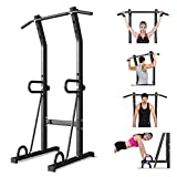 Power Tower Dip Station, Mosunx Workout Equipment Heavy Duty Gym Power Multi-Function Dip Stand Pull up Chin Up Home Strength Training Tower (Adjustable, Black)
