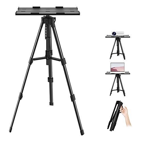 PVO Aluminum Adjustable Projector Tripod Stand, Universal Multi-Function Tripod with Tray and Carrying Bag, DJ Equipment Holder Mount, Laptop Stand, Suitable for Home Theater, Business Meeting etc.