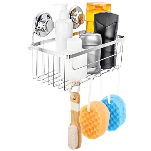 HASKO Accessories Vacuum Suction Cup Shower Caddy | Deep Basket Organizer for Shampoo with Hooks | Adhesive 3M Stick Discs | Holder for Bathroom Storage | Polished Stainless Steel SS304