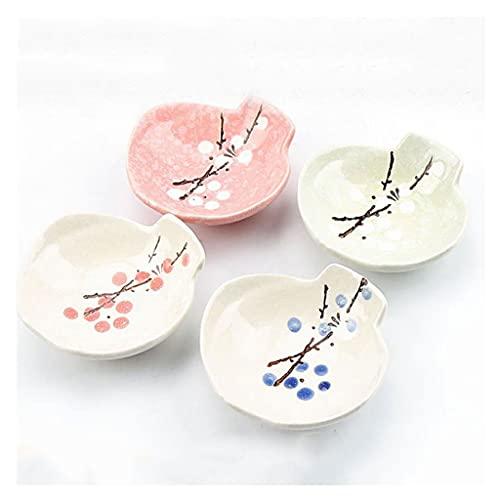 Plum de cerámica Plato Plato de Plato de Sushi Bowls Aperitivo Platos Porcelana sirviendo Platos condimentos de Platos (Juego de 4) (Color : A+B+C+D)