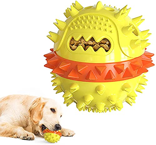 Dog Chew Toys for Aggressive Chewer, Dog Squeaky Toys, Indestructible Interactive Treat Toys for Large Medium Dogs, Fun to Chew, Chase and Fetch, Dog Ball Toys (Yellow&Orange, Large)