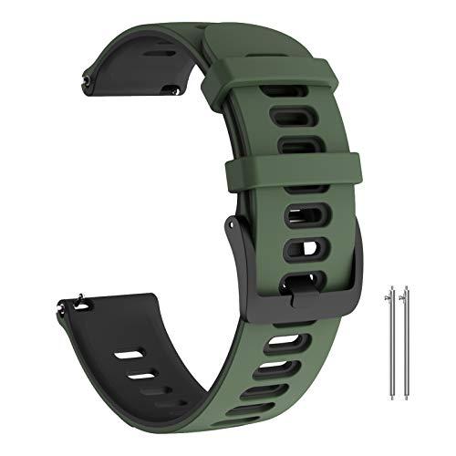ANBEST Compatibile con Garmin Vivoactive 3/Forerunner 245/645/Vivomove HR Cinturino, 20mm Cinturino in Silicone Ricambio Sport Bracciale per Galaxy Watch 42mm/Galaxy Active 2 40mm, Verde Militare/Nero