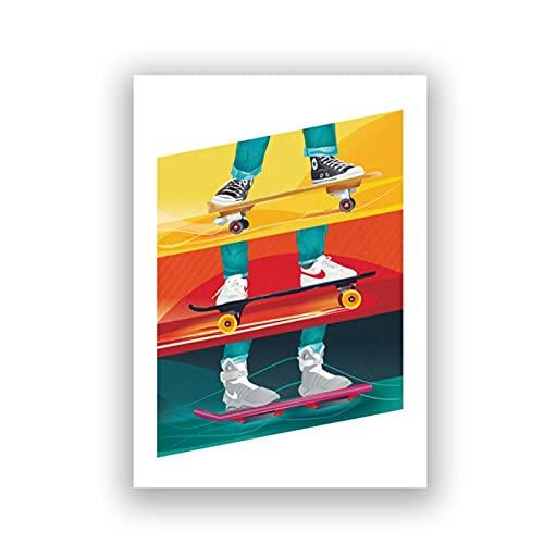 LLXHG Regreso al Futuro póster de película Imprime 1985 película de Ciencia ficción clásica Pintura en Lienzo Cuadro de Arte de Pared decoración de habitación de niños-40x50cm sin Marco