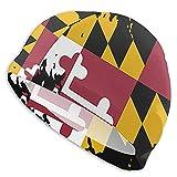Tcerlcir Gorro Natación Bandera de Marylands Gorro de Piscina para Hombre y Mujer Hecho de Silicona Ideal para Pelo Largo y Corto