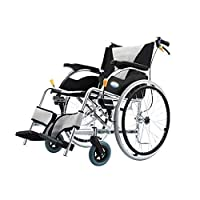 ホームアクセサリーアルミ車椅子軽量で折りたたみ式フレーム推進車椅子ポータブルトランジットトラベルチェアテーブルデザイン近くの取り外し可能なフットレストブラック66x92x84CM